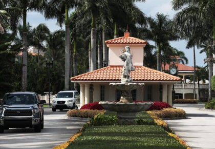 DORAL, FLORIDA - OCTOBER 17: An entrance gatehouse leading to the Trump National Doral golf resort owned by U.S. President Donald Trump's company is seen on October 17, 2019 in Doral, Florida. White House chief of staff Mick Mulvaney announced today that the resort will host the Group of Seven …