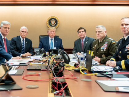 President Trump with Vice President Mike Pence, National Security Advisor Robert O'Brien, left; Secretary of Defense Mark Esper and Chairman of the Joint Chiefs of Staff U.S. Army General Mark A. Milley, and Brig. Gen. Marcus Evans, Deputy Director for Special Operations. Saturday, Oct. 26, 2019, in the Situation Room …