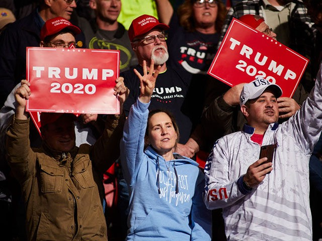 GREEN BAY, WI - APRIL 27: Supporters of US President Donald Trump wait to hear him speak at a Make America Great Again rally on April 27, 2019 in Green Bay, Wisconsin. (Photo by Darren Hauck/Getty Images)