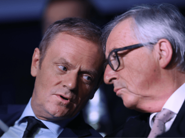 SAN GILJAN, MALTA - MARCH 30: European Council President Donald Tusk (L) and Jean-Claude Juncker, President of the European Commission, attend the European People's Party (EPP) Congress on March 30, 2017 in San Giljan, Malta. The EPP, which includes many European Christian democratic parties, is bringing together leaders from across …