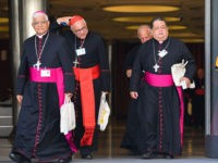 Bishops and a Cardinal (2ndL) leave for a lunch break after attending the opening of the Special Assembly of the Synod of Bishops for the Pan-Amazon Region on October 7, 2019 in the Vatican. - Pope Francis is gathering Catholic bishops at the Vatican to champion the isolated and poverty-struck …