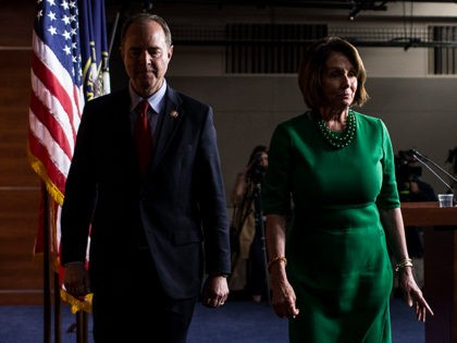 WASHINGTON, DC - OCTOBER 15: House Intelligence Committee Chairman Rep. Adam Schiff (D-CA), left, and House Speaker Nancy Pelosi (D-CA), right, depart following a news conference on Capitol Hill on October 15, 2019 in Washington, DC. House Democrats will not hold a vote to authorize impeachment inquiry into President Donald …