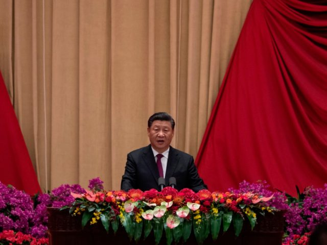 China's President Xi Jinping delivers a speech at a reception to celebrate the 70th anniversary of the founding of the People's Republic of China at the Great Hall of the People in Beijing on September 30, 2019. (Photo by NOEL CELIS / AFP) (Photo credit should read NOEL CELIS/AFP/Getty Images)