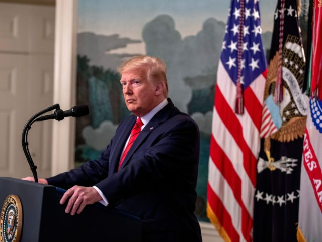 WASHINGTON, DC - OCTOBER 27: U.S. President Donald Trump makes a statement in the Diplomatic Reception Room of the White House October 27, 2019 in Washington, DC. President Trump announced that ISIS leader Abu Bakr al-Baghdadi has been killed in a military operation in northwest Syria. (Photo by Tasos Katopodis/Getty …