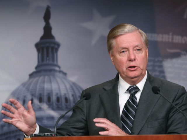 WASHINGTON, DC - OCTOBER 24: Senate Judiciary Committee Chairman Lindsey Graham (R-SC), speaks after introducing a resolution condemning House Impeachment inquiry against President Donald Trump, at the U.S. Capitol on October 24, 2019 in Washington, DC. (Photo by Mark Wilson/Getty Images)