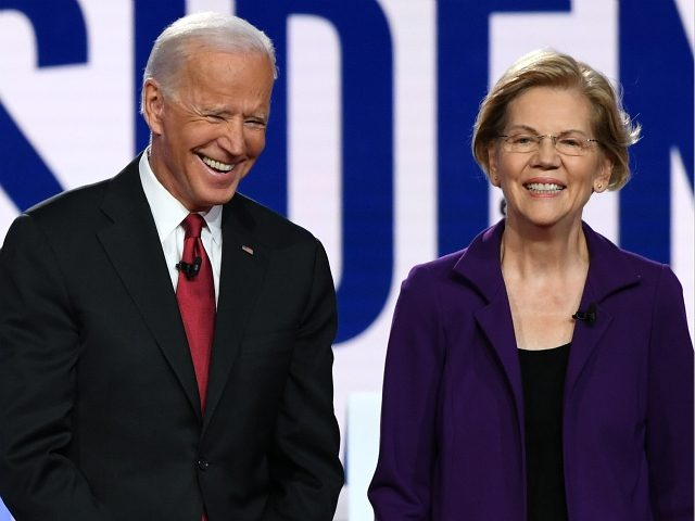 Democratic presidential hopefuls former US Vice President Joe Biden (L) and Massachusetts Senator Elizabeth Warren arrive onstage for the fourth Democratic primary debate of the 2020 presidential campaign season co-hosted by The New York Times and CNN at Otterbein University in Westerville, Ohio on October 15, 2019. (Photo by SAUL …