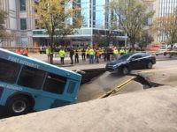bus in sinkhole