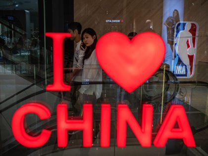 BEIJING, CHINA - OCTOBER 09: A display is seen near a logo outside the NBA flagship retail store on October 9, 2019 in Beijing, China. The NBA is trying to salvage its brand in China amid criticism of its handling of a controversial tweet that infuriated the government and has …