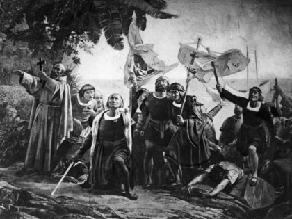 Christopher Columbus landing in America with the Piuzon Brothers bearing flags and crosses, 1492. Original Artwork: By D Puebla (1832 - 1904) (Photo by Hulton Archive/Getty Images)