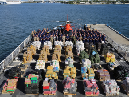 he Coast Guard Cutter James (WMSL-754) crew stands aboard the cutter October 28, 2019, Port Everglades, Florida. The cutter James crew is scheduled to offload approximately 27,300 pounds of seized cocaine worth an estimated $367 million and 11,000 pounds of seized marijuana worth an estimated $10.1 million at Port Everglades. …