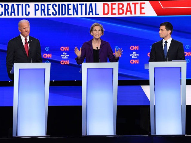 Democratic presidential hopefuls (from L) Vermont Senator Bernie Sanders, former US Vice President Joe Biden, Massachusetts Senator Elizabeth Warren and Mayor of South Bend, Indiana Pete Buttigieg participate during the fourth Democratic primary debate of the 2020 presidential campaign season co-hosted by The New York Times and CNN at Otterbein …