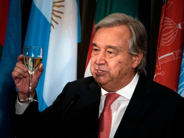 UN Secretary-General Antonio Guterres makes a toast during a luncheon at the United Nations headquarters during the 72nd session of the United Nations General Assembly September 19, 2017 in New York City. / AFP PHOTO / Brendan Smialowski (Photo credit should read BRENDAN SMIALOWSKI/AFP/Getty Images)