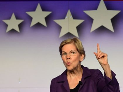 Democratic presidential candidate Elizabeth Warren speaks at the SEIU Unions for All Summit in Los Angeles, California on October 4, 2019. (Photo by Frederic J. BROWN / AFP) (Photo by FREDERIC J. BROWN/AFP via Getty Images)