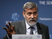 "US actor and activist George Clooney speaks at a press conference about South Sudan in London, Thursday, Sept. 19, 2019. The largest multinational oil consortium in South Sudan is ""proactively participating in the destruction"" of the country, the actor George Clooney and co-founder of The Sentry watchdog group told The …"