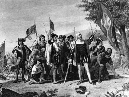 "Historic painting of Christopher Columbus. He and his sailors stand in triumph at least on San Salvador, the Bahamas, on Oct. 12, 1492. The success of Columbus ""Enterprise of the Indies"" was due not only to his imaginative dreams. He was also a rugged individualist, driven by a ""Yankee"" profit …"
