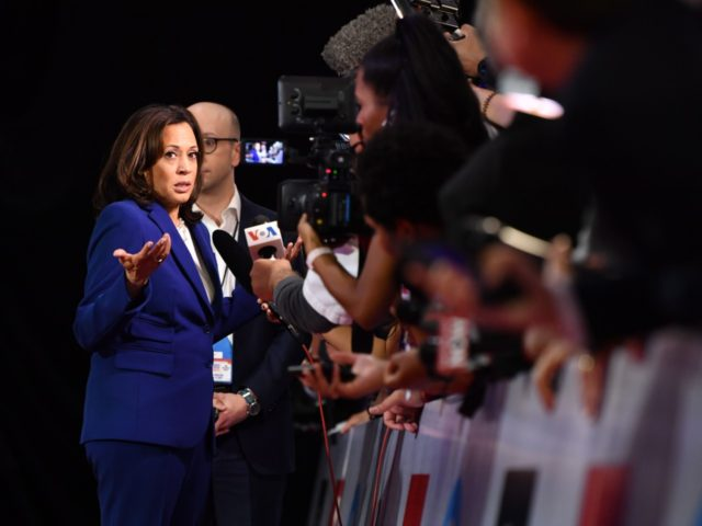 Democratic presidential hopeful California Senator Kamala Harris speaks to the press in the spin room after the fourth Democratic primary debate of the 2020 presidential campaign season co-hosted by The New York Times and CNN at Otterbein University in Westerville, Ohio on October 15, 2019. (Photo by Nicholas Kamm / …