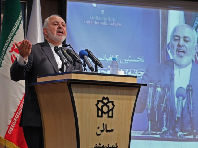 Iran's Foreign Minister Mohammad Javad Zarif speaks at a conference that Iran is hosting on unilateralism and international law at the Allameh Tabataba'i University in the capital Tehran on October 21, 2019. (Photo by ATTA KENARE / AFP) (Photo by ATTA KENARE/AFP via Getty Images)