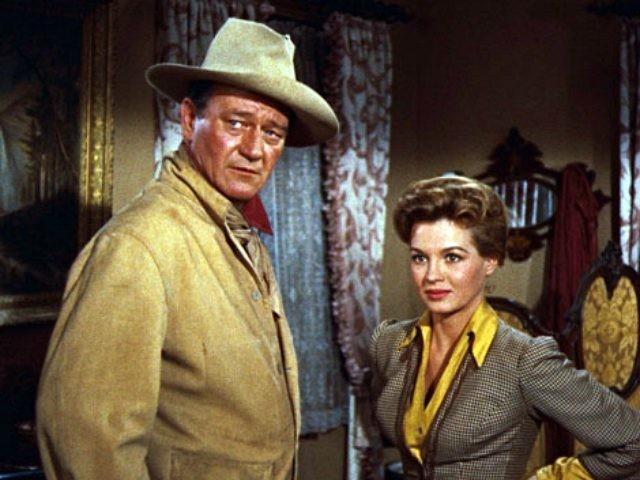 John Wayne and Angie Dickinson in Rio Bravo (1959)
