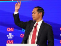 WESTERVILLE, OHIO - OCTOBER 15: Sen. Amy Klobuchar (D-MN) and former housing secretary Julian Castro react on stage during the Democratic Presidential Debate at Otterbein University on October 15, 2019 in Westerville, Ohio. A record 12 presidential hopefuls are participating in the debate hosted by CNN and The New York …