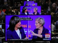 WESTERVILLE, OHIO - OCTOBER 15: Sen. Kamala Harris (D-CA) and Sen. Elizabeth Warren (D-MA) appear on television screens in the Media Center as they go back and forth during the Democratic Presidential Debate at Otterbein University on October 15, 2019 in Westerville, Ohio. A record 12 presidential hopefuls are participating …