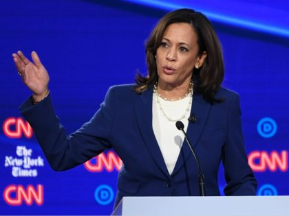 Democratic presidential hopeful California Senator Kamala Harris speaks during the fourth Democratic primary debate of the 2020 presidential campaign season co-hosted by The New York Times and CNN at Otterbein University in Westerville, Ohio on October 15, 2019. (Photo by SAUL LOEB / AFP) (Photo by SAUL LOEB/AFP via Getty …