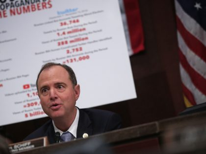"""WASHINGTON, DC - NOVEMBER 01: Committee ranking member Rep. Adam Schiff (D-CA) speaks during a hearing before the House (Select) Intelligence Committee November 1, 2017 on Capitol Hill in Washington, DC. The committee held a hearing on """"Russia Investigative Task Force: Social Media Companies."""" (Photo by Alex Wong/Getty Images)"""