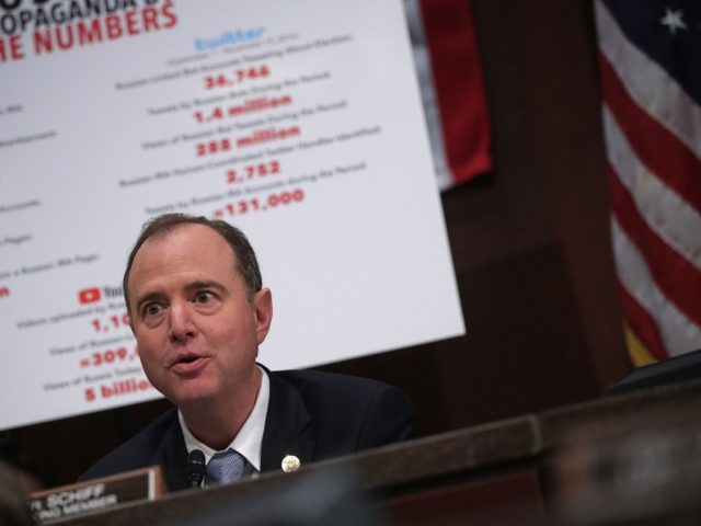 "WASHINGTON, DC - NOVEMBER 01: Committee ranking member Rep. Adam Schiff (D-CA) speaks during a hearing before the House (Select) Intelligence Committee November 1, 2017 on Capitol Hill in Washington, DC. The committee held a hearing on ""Russia Investigative Task Force: Social Media Companies."" (Photo by Alex Wong/Getty Images)"