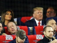 WASHINGTON, DC - OCTOBER 27: (L-R) Melania and Donald Trump attend Game Five of the 2019 World Series between the Houston Astros and the Washington Nationals at Nationals Park on October 27, 2019 in Washington, DC. (Photo by Rob Carr/Getty Images)