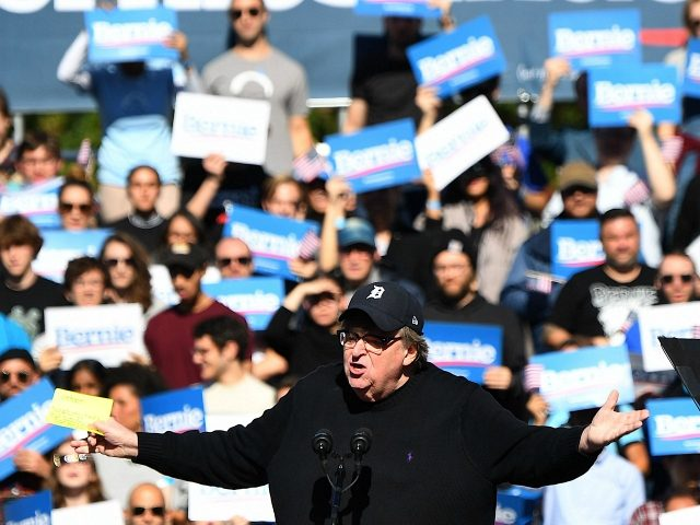 Filmmaker Michael Moore speaks at a campaign rally of 2020 Democratic presidential hopeful Bernie Sanders on October 19, 2019 in New York City. (Photo by Johannes EISELE / AFP) (Photo by JOHANNES EISELE/AFP via Getty Images)
