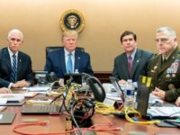 WASHINGTON, DC - OCTOBER 26: In this handout photo provided by the White House, President Donald J. Trump is joined by Vice President Mike Pence (2nd L), National Security Advisor Robert O'Brien (L), Secretary of Defense Mark Esper (3rd R), Chairman of the Joint Chiefs of Staff U.S. Army General …