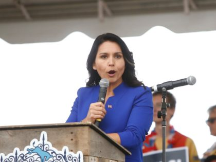 NORTH CHARLESTON, SC - OCTOBER 05: Democratic presidential candidate, Rep. Tulsi Gabbard (D-HI) addresses the crowd at the Blue Jamboree on October 5, 2019 in North Charleston, South Carolina. Six of the 2020 Democratic candidates were scheduled to attend the event. (Photo by Brian Blanco/Getty Images)