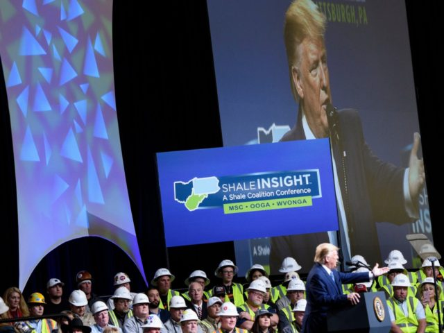 US President Donald Trump speaks during the 9th Shale Insight Conference at the David L. Lawrence Convention Center on October 23, 2019, in Pittsburgh, Pennsylvania. (Photo by Brendan Smialowski / AFP) (Photo by BRENDAN SMIALOWSKI/AFP via Getty Images)
