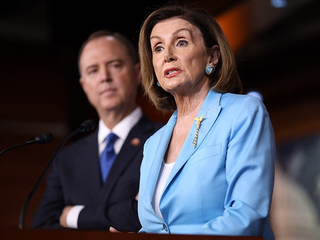 WASHINGTON, DC - OCTOBER 02: Speaker of the House Nancy Pelosi (D-CA) answers questions with House Select Committee on Intelligence Chairman Rep. Adam Shiff (D-CA) at the U.S. Capitol October 2, 2019 in Washington, DC. Pelosi and Schiff updated members of the media on the latest developments related to the …