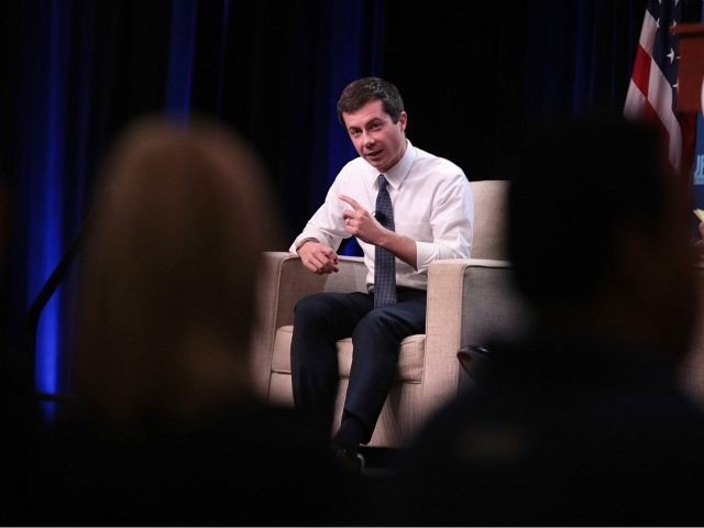 ALTOONA, IOWA - OCTOBER 13: South Bend, Indiana Mayor Pete Buttigieg speaks to guests during the United Food and Commercial Workers' (UFCW) 2020 presidential candidate forum on October 13, 2019 in Altoona, Iowa. With 1.3 million members the UFCW is America's largest private sector union. The 2020 Iowa Democratic caucuses …