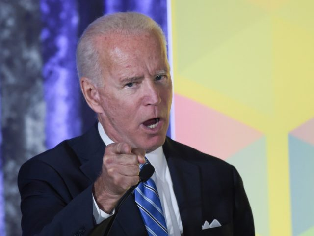 2020 Democratic presidential hopeful former US Vice President Joe Biden gestures during his speech at the Women's Leadership Forum Conference on October 17, 2019 in Washington DC. (Photo by Eric BARADAT / AFP) (Photo by ERIC BARADAT/AFP via Getty Images)