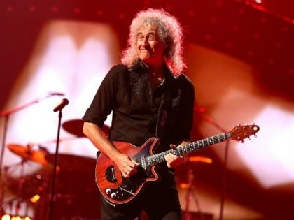 LAS VEGAS, NV - SEPTEMBER 20: Brian May of Queen performs onstage during the iHeartRadio Music Festival at the MGM Grand Garden Arena on September 20, 2013 in Las Vegas, Nevada. (Photo by Christopher Polk/Getty Images for Clear Channel)
