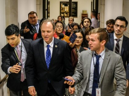 WASHINGTON, DC - OCTOBER 23: House Intelligence Committee Chairman Rep. Adam Schiff (D-CA) departs after a closed session before the House Intelligence, Foreign Affairs and Oversight committees on Capitol Hill on October 23, 2019 in Washington, DC. Deputy Assistant Secretary of Defense Laura Cooper was on Capitol Hill to testify …