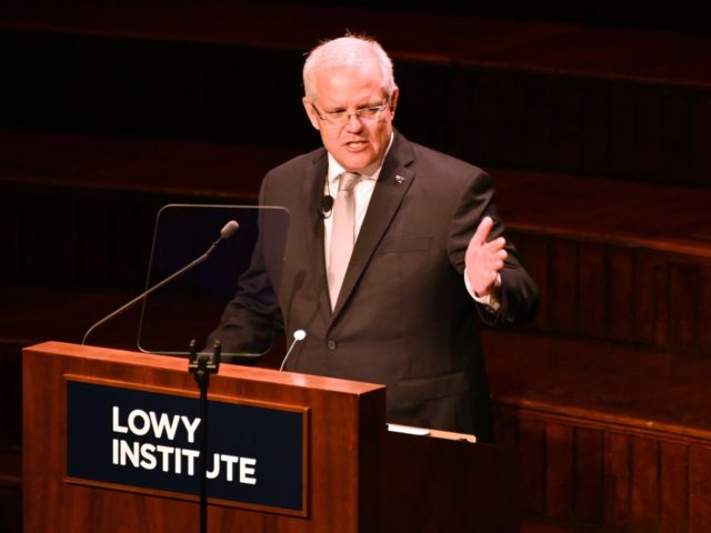 Australia's Prime Minister Scott Morrison speaks at the Lowy Lecture at the Town Hall in Sydney on October 3, 2019. - The annual Lowy Lecture is the foreign affairs think-tank Lowy Institute's flagship event where the speaker delivers a speech on Australia's place in the world. (Photo by PETER PARKS …