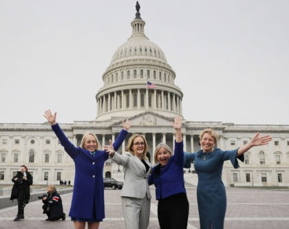 WASHINGTON, DC - JANUARY 04: (L-R) Rep. Mary Gay Scanlon (D-PA), Rep. Madeleine Dean (D-PA), Rep. Susan Wild (D-PA) and Rep. Chrissy Houlahan (D-PA) pose for photographs after a group portrait with their fellow House Democratic women in front of the U.S. Capitol January 04, 2019 in Washington, DC. The …