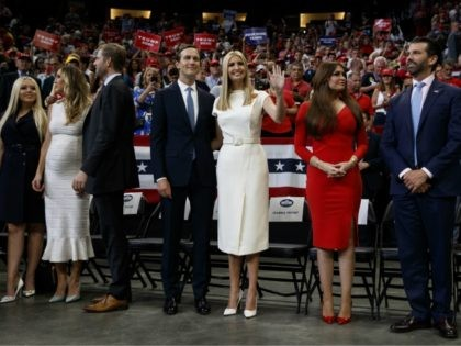 The family of President Donald Trump, from left, Tiffany Trump, Lara Trump, Eric Trump, Jared Kushner, Ivanka Trump, Kimberly Guilfoyle, and Donald Trump Jr., arrive for his re-election kickoff rally at the Amway Center, Tuesday, June 18, 2019, in Orlando. (AP Photo/Evan Vucci)