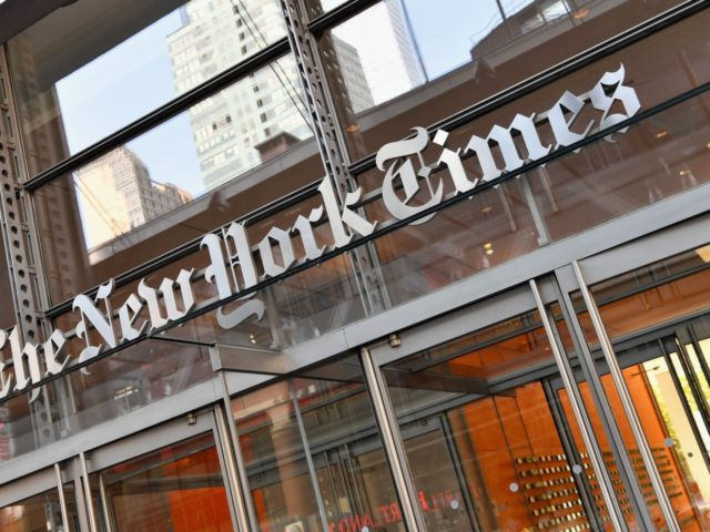 The New York Times building is seen on September 6, 2018 in New York. - A furious Donald Trump called September 5, 2018 for the unmasking of an anonymous senior official who wrote in the New York Times that top members of his administration were undermining the president to curb …