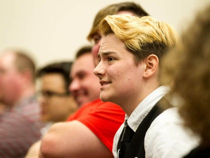 Henry Seaton, a transgender high school senior, listens during a House subcommittee hearing about a bill seeking to require school children to use restrooms according to the gender on their birth certificates, Tuesday, March 15, 2016, in Nashville, Tenn. Seaton told the panel that he has had to use a …