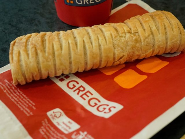 MANCHESTER, ENGLAND - JANUARY 06: In this photo illustration, a Greggs vegan sausage roll lays on a table on January 06, 2019 in Manchester, England. Greggs bakers recently launched the vegan sausage roll to compliment its popular meat sausage roll. The new vegan filling is made out of the company's …