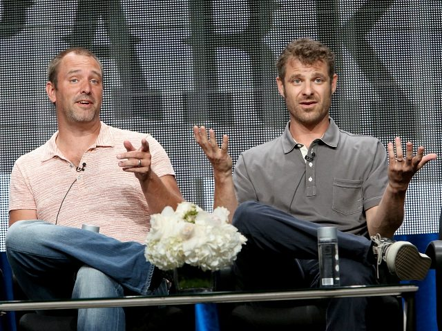 BEVERLY HILLS, CA - JULY 12: Writer/creators Trey Parker (L) and Matt Stone speak onstage during the 'South Park' panel at Hulu's TCA Presentation at The Beverly Hilton Hotel on July 12, 2014 in Beverly Hills, California. (Photo by Jesse Grant/Getty Images for Hulu)