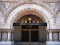 WASHINGTON, DC - AUGUST 10: The Trump International Hotel is shown on August 10, 2017 in Washington, DC. The hotel, located blocks from the White House, has become both a tourist attraction in the nation's capital and also a symbol of President Trump's intermingling of business and politics. (Photo by …