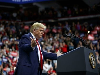 President Donald Trump arrives to speak at a campaign rally at the Target Center, Thursday, Oct. 10, 2019, in Minneapolis. (AP Photo/Evan Vucci)
