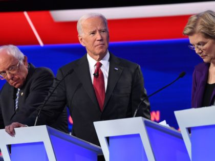 Democratic presidential hopefuls (from L) Vermont Senator Bernie Sanders, former US Vice President Joe Biden and Massachusetts Senator Elizabeth Warren take part in the fourth Democratic primary debate of the 2020 presidential campaign season co-hosted by The New York Times and CNN at Otterbein University in Westerville, Ohio on October …