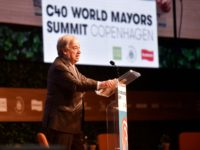 UN Secretary-General Antonio Guterres delivers his keynote speech at the C40 World Mayors Summit at the mainstage in Tivoli Conference Centre, Copenhagen, Denmark, on October 11, 2019. (Photo by Ida Guldbaek Arentsen / Ritzau Scanpix / AFP) / Denmark OUT (Photo by IDA GULDBAEK ARENTSEN/Ritzau Scanpix/AFP via Getty Images)