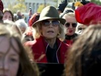 Actress and activist Jane Fonda, center, protest outside of the U.S. Capitol, as she and other demonstrators called on Congress for action to address climate change, on Capitol Hill in Washington, Friday, Nov. 1, 2019. A half-century after throwing her attention-getting celebrity status into Vietnam War protests, Fonda is now …