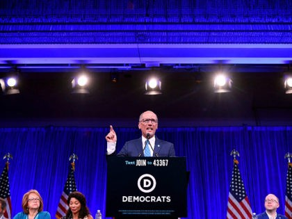 Chair of the Democratic National Committee Tom Perez speaks on-stage during the Democratic National Committee's summer meeting in San Francisco, California on August 23, 2019. (Photo by JOSH EDELSON / AFP) (Photo credit should read JOSH EDELSON/AFP via Getty Images)